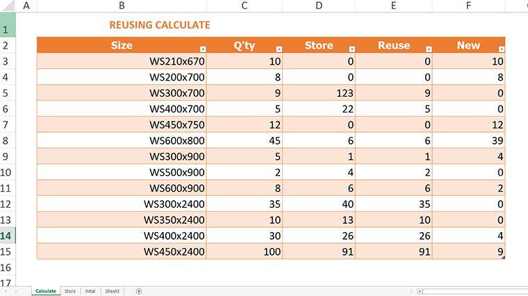 Các hàm Excel cơ bản khi tính toán tận dụng coffa nhôm 1