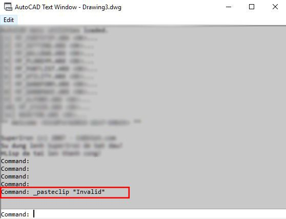 Sửa lỗi Pasteclip Invalid AutoCAD 1