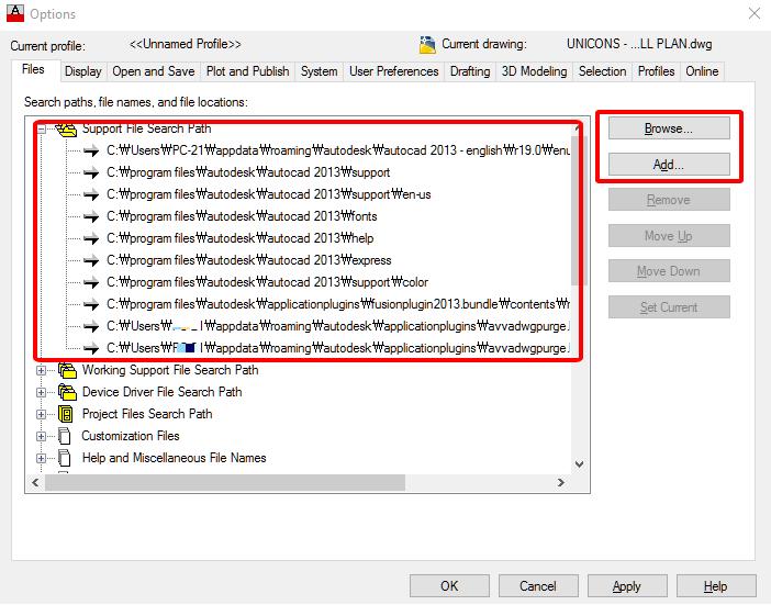 option-support-file-autocad